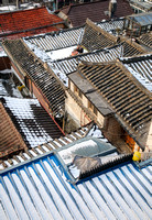 Traditional Korean rooftops in winter